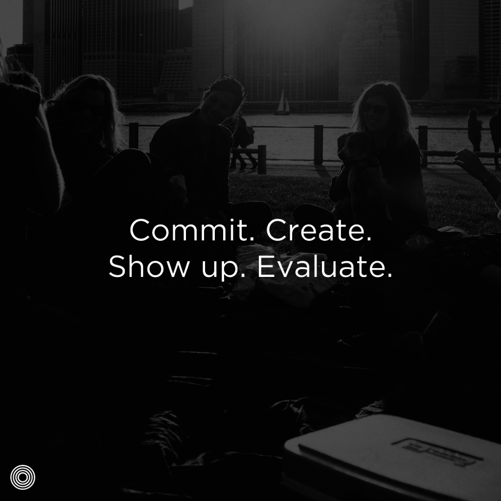 Commit. Create. Show up. Evaluate