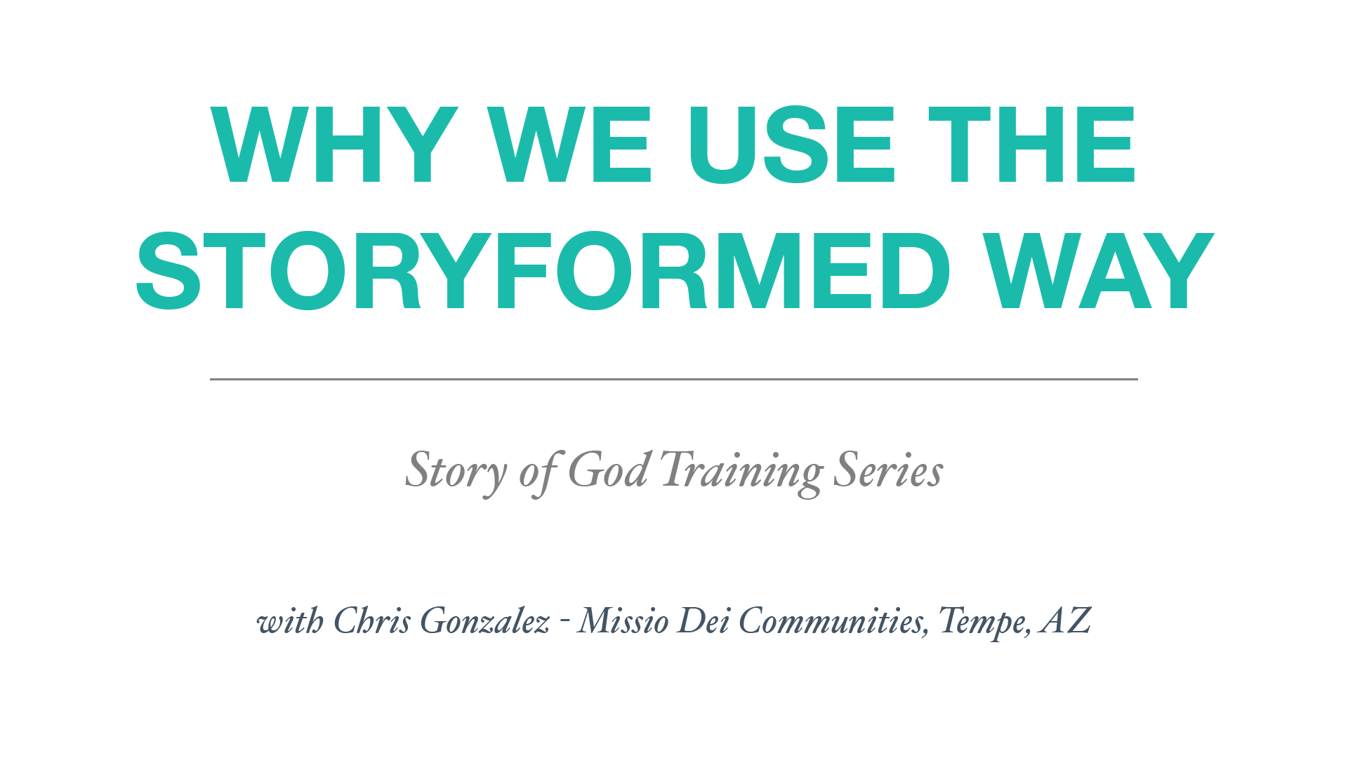 5 - How to Lead the Story of God